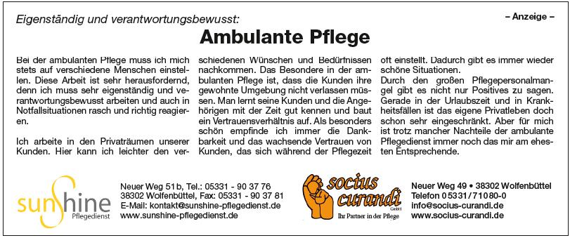 Anzeige im Wolfenbütteler Schaufenster vom 05.08.2018