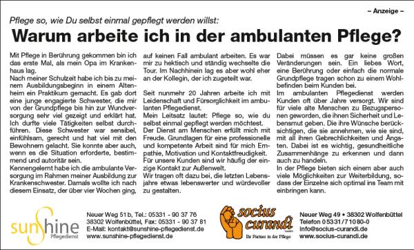 Anzeige im Wolfenbütteler Schaufenster vom 22.07.2018