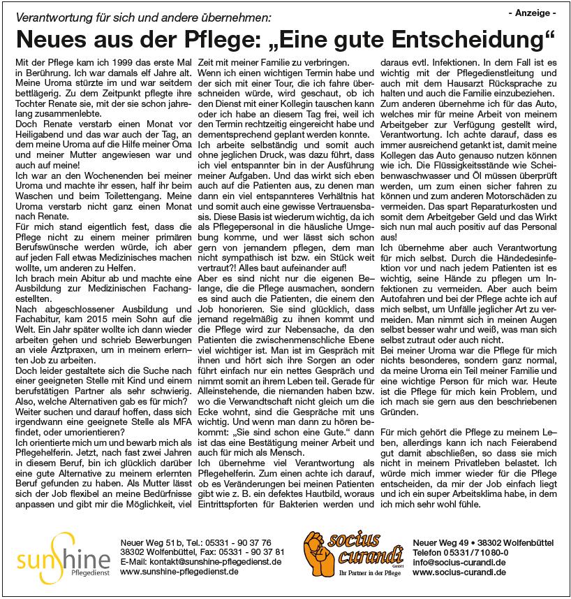 Anzeige im Wolfenbütteler Schaufenster vom 19.02.2018